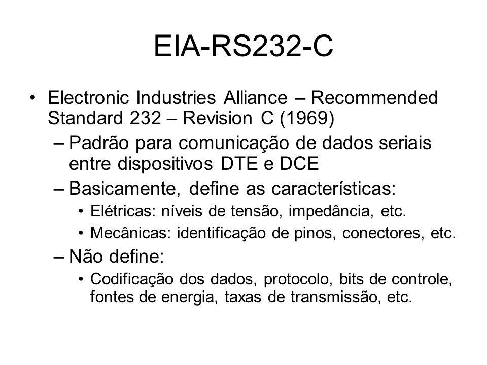 Originalmente utilizada para conectar um PC a um MODEM Permitiu que diversos equipamentos de diferentes fabricantes pudessem se comunicar entre si EIA-RS232-C