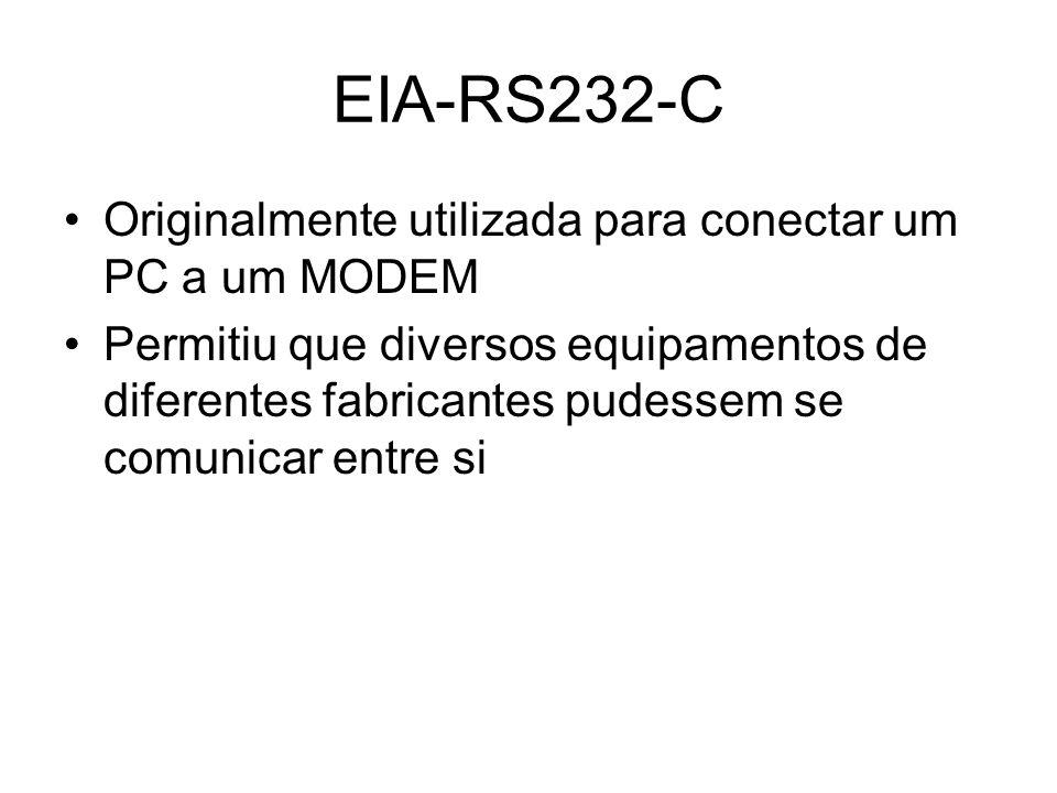 Originalmente utilizada para conectar um PC a um MODEM Permitiu que diversos equipamentos de diferentes fabricantes pudessem se comunicar entre si EIA