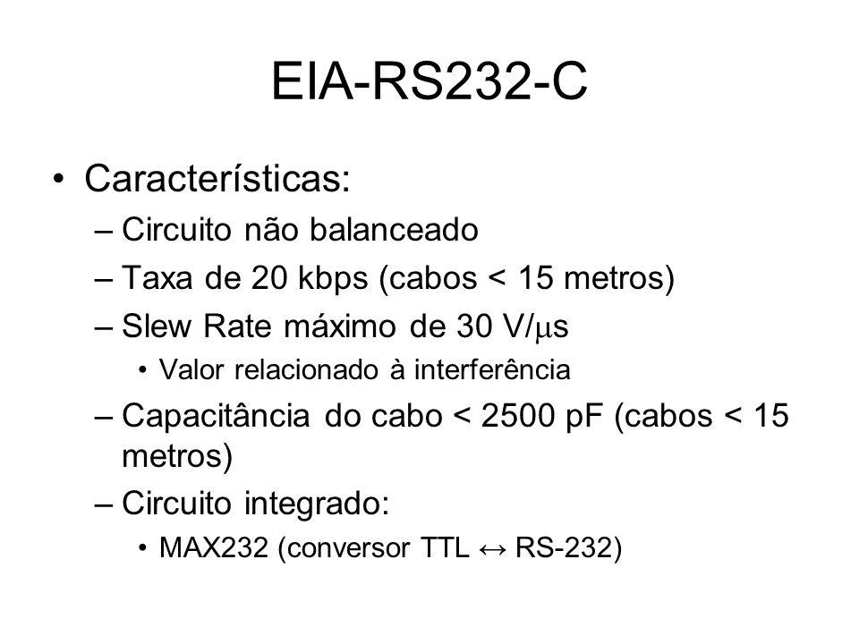 Características: –Circuito não balanceado –Taxa de 20 kbps (cabos < 15 metros) –Slew Rate máximo de 30 V/ s Valor relacionado à interferência –Capacit