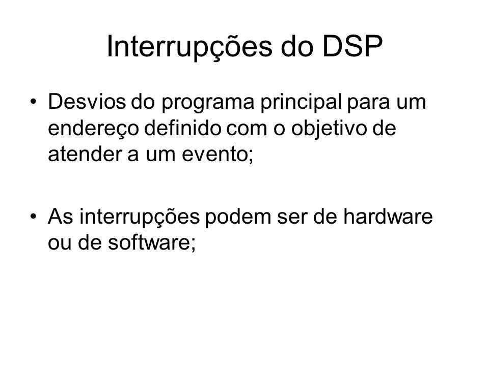 Desvios do programa principal para um endereço definido com o objetivo de atender a um evento; As interrupções podem ser de hardware ou de software; I