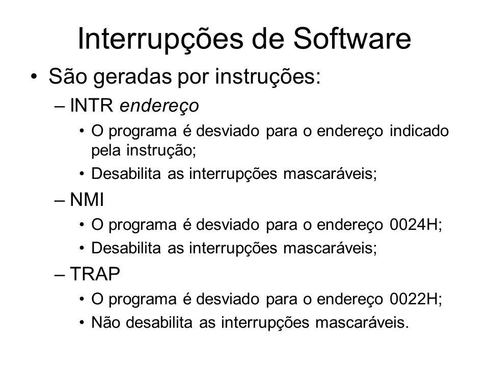Interrupções de Software São geradas por instruções: –INTR endereço O programa é desviado para o endereço indicado pela instrução; Desabilita as inter
