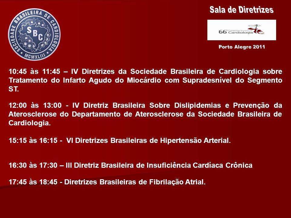 10:45 às 11:45 – IV Diretrizes da Sociedade Brasileira de Cardiologia sobre Tratamento do Infarto Agudo do Miocárdio com Supradesnível do Segmento ST.
