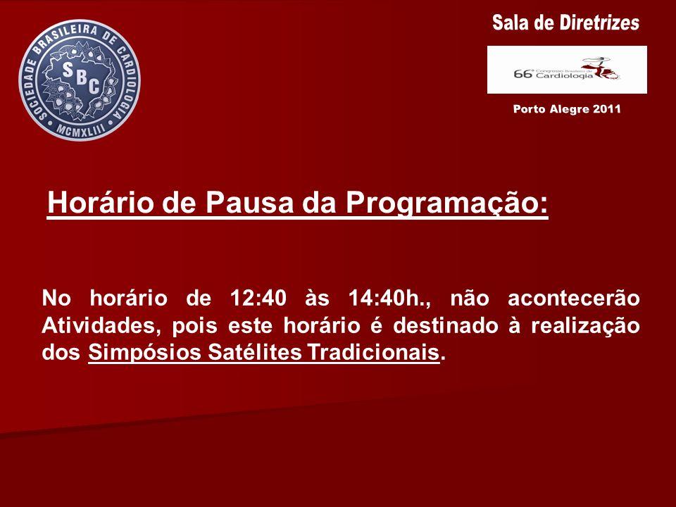 Horário de Pausa da Programação: No horário de 12:40 às 14:40h., não acontecerão Atividades, pois este horário é destinado à realização dos Simpósios