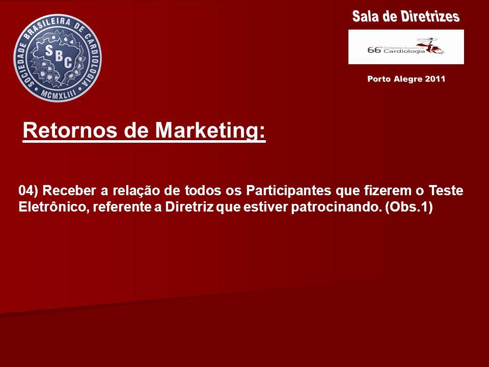 Retornos de Marketing: 04) Receber a relação de todos os Participantes que fizerem o Teste Eletrônico, referente a Diretriz que estiver patrocinando.