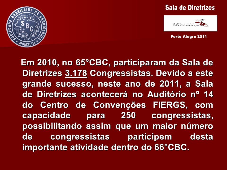 Em 2010, no 65°CBC, participaram da Sala de Diretrizes 3.178 Congressistas. Devido a este grande sucesso, neste ano de 2011, a Sala de Diretrizes acon