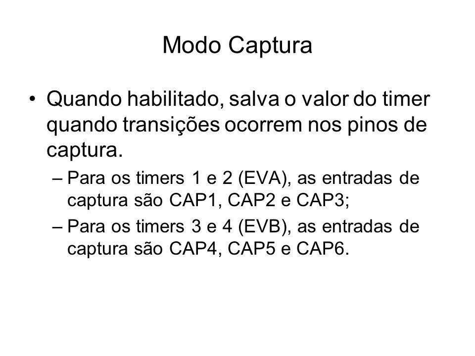 Quando habilitado, salva o valor do timer quando transições ocorrem nos pinos de captura. –Para os timers 1 e 2 (EVA), as entradas de captura são CAP1