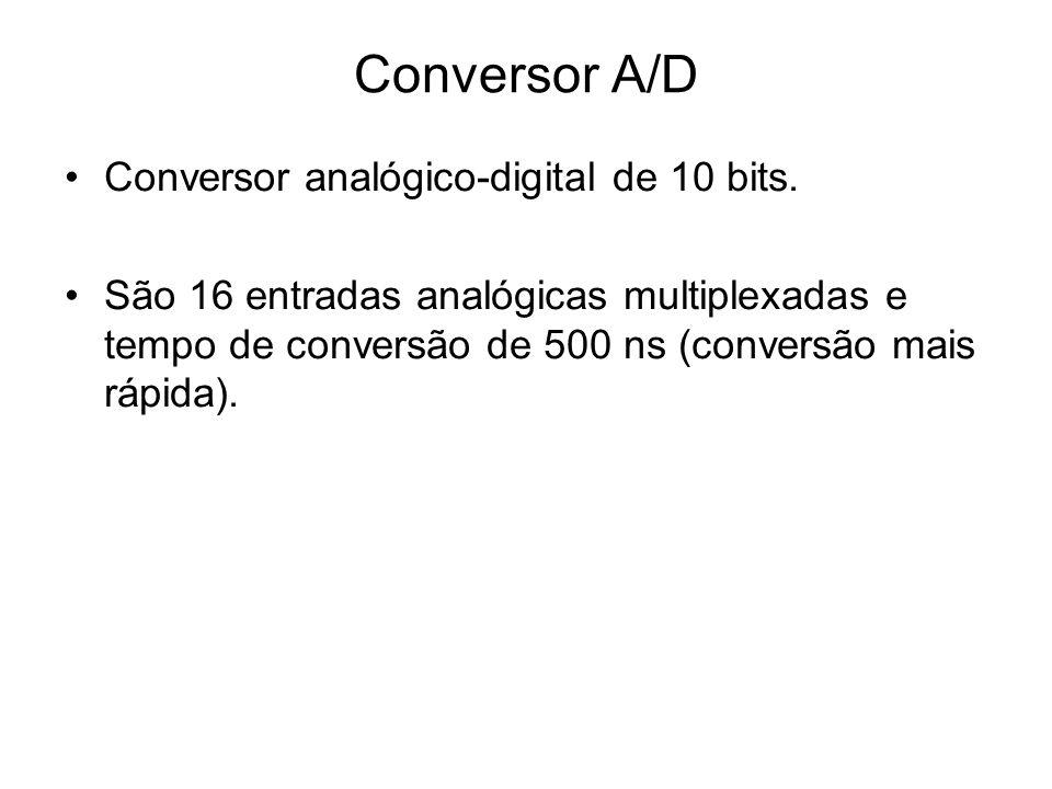 Conversor analógico-digital de 10 bits. São 16 entradas analógicas multiplexadas e tempo de conversão de 500 ns (conversão mais rápida). Conversor A/D