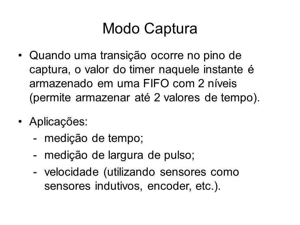Quando uma transição ocorre no pino de captura, o valor do timer naquele instante é armazenado em uma FIFO com 2 níveis (permite armazenar até 2 valor