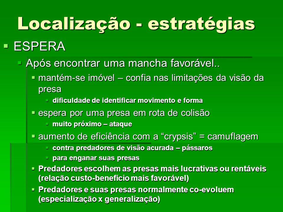 Localização - estratégias ESPERA ESPERA Após encontrar uma mancha favorável..