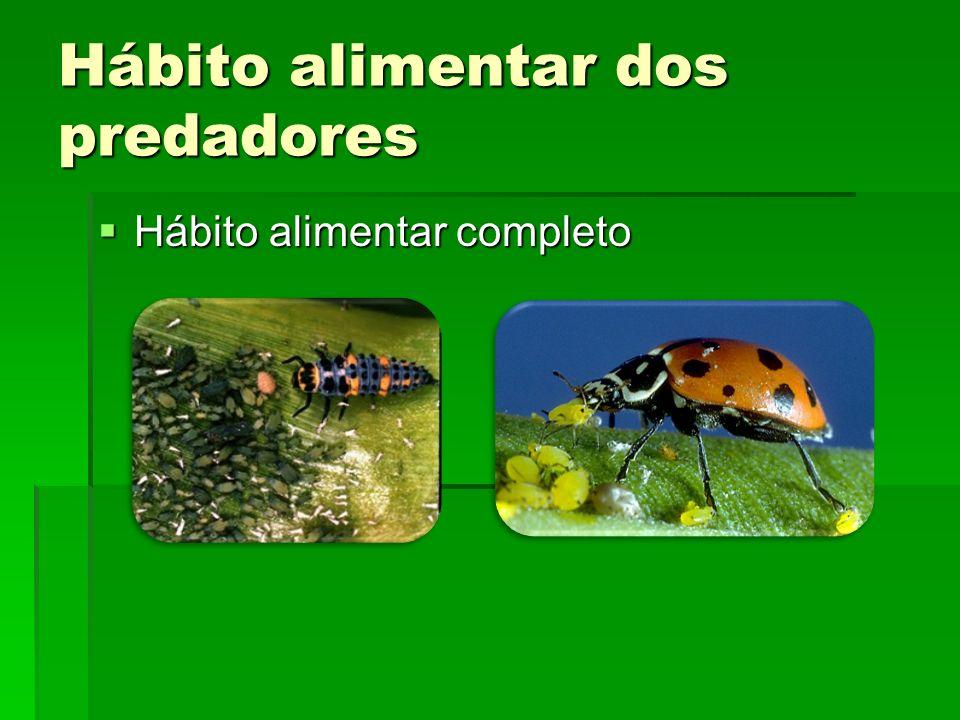 Hábito alimentar dos predadores Hábito alimentar completo Hábito alimentar completo