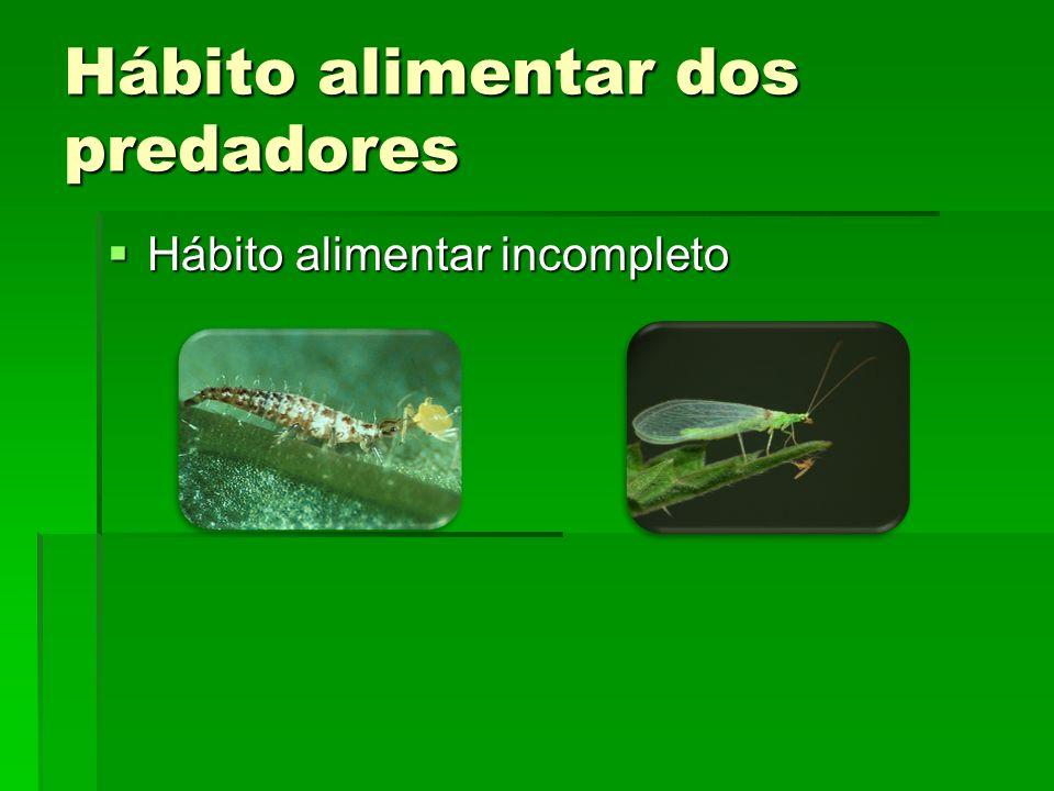 Hábito alimentar dos predadores Quanto à dieta Quanto à dieta Monófagos: consomem apenas um tipo de presa; Monófagos: consomem apenas um tipo de presa; Oligófagos: consomem poucos tipos de presas; Oligófagos: consomem poucos tipos de presas; Polífagos (maioria): consomem diversos tipos de presas.