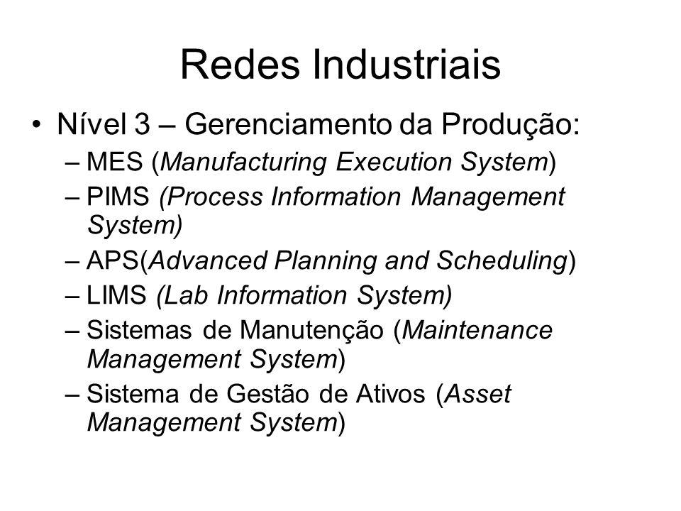Nível 3 – Gerenciamento da Produção: –MES (Manufacturing Execution System) –PIMS (Process Information Management System) –APS(Advanced Planning and Sc