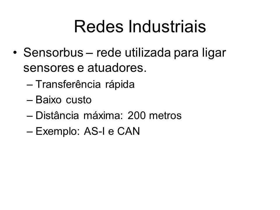 Sensorbus – rede utilizada para ligar sensores e atuadores. –Transferência rápida –Baixo custo –Distância máxima: 200 metros –Exemplo: AS-I e CAN Rede