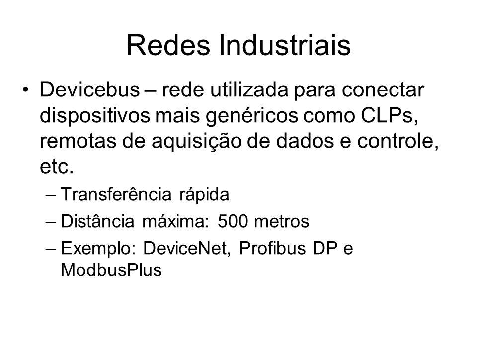 Devicebus – rede utilizada para conectar dispositivos mais genéricos como CLPs, remotas de aquisição de dados e controle, etc. –Transferência rápida –