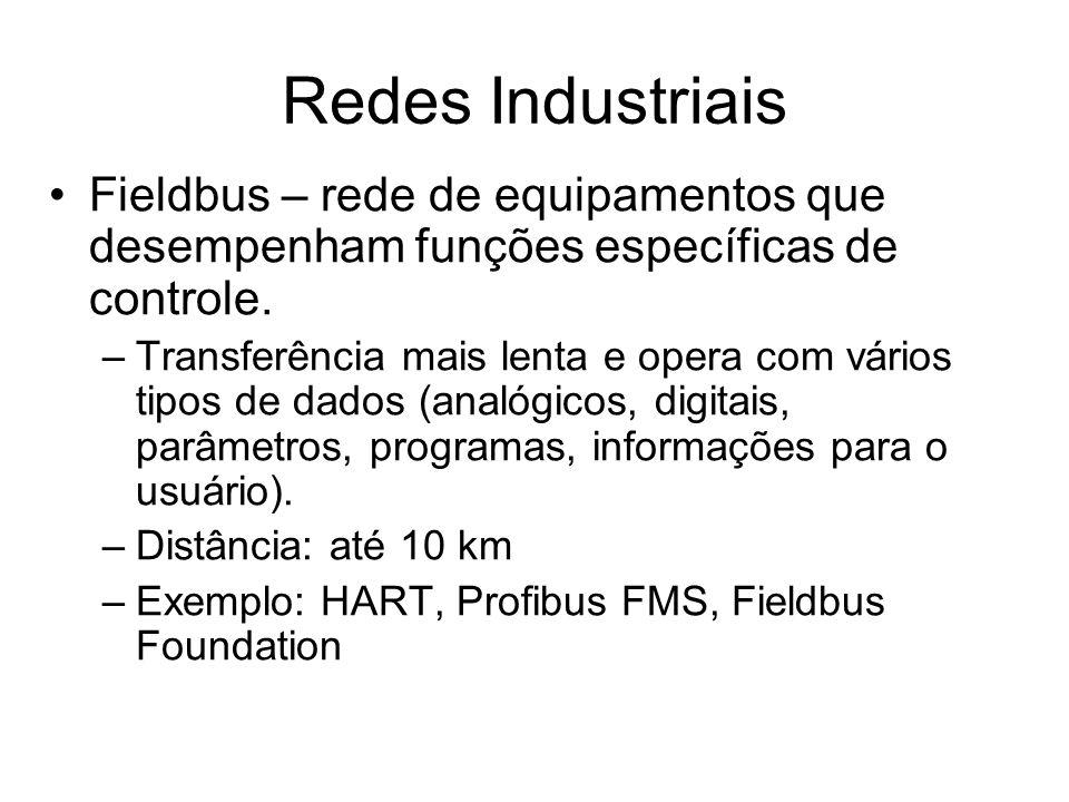 Fieldbus – rede de equipamentos que desempenham funções específicas de controle. –Transferência mais lenta e opera com vários tipos de dados (analógic