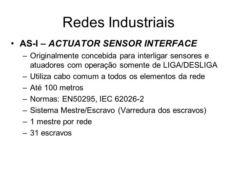 AS-I – ACTUATOR SENSOR INTERFACE –Originalmente concebida para interligar sensores e atuadores com operação somente de LIGA/DESLIGA –Utiliza cabo comu