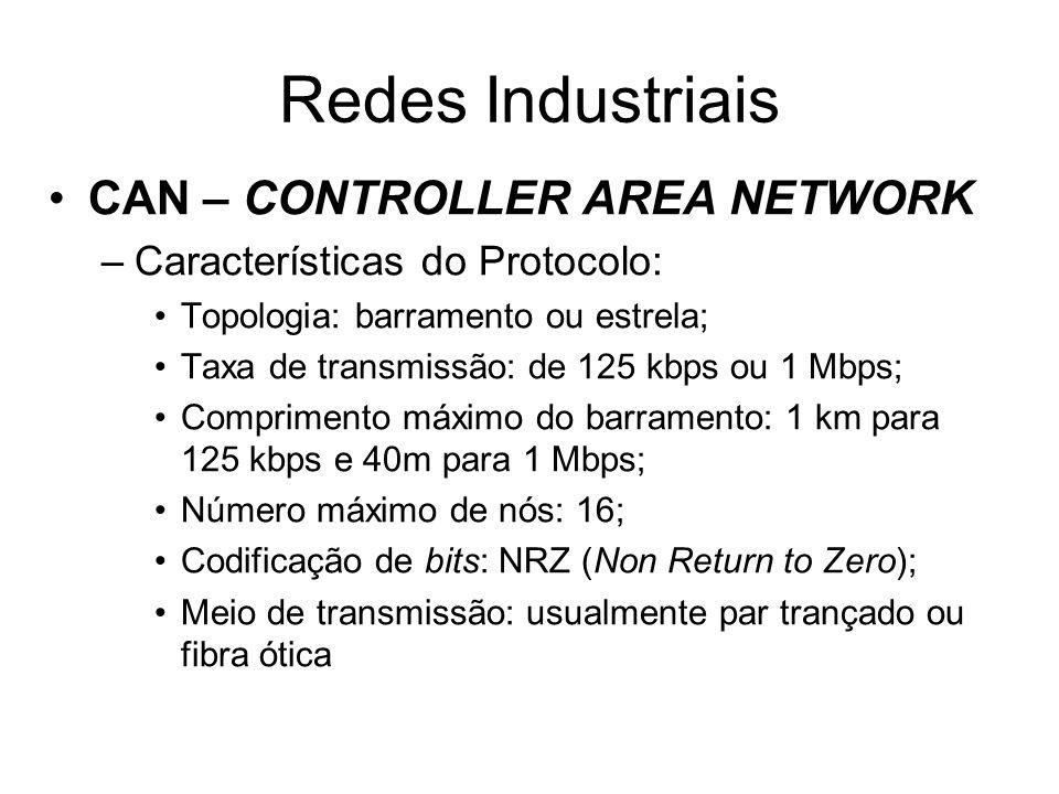 CAN – CONTROLLER AREA NETWORK –Características do Protocolo: Topologia: barramento ou estrela; Taxa de transmissão: de 125 kbps ou 1 Mbps; Comprimento