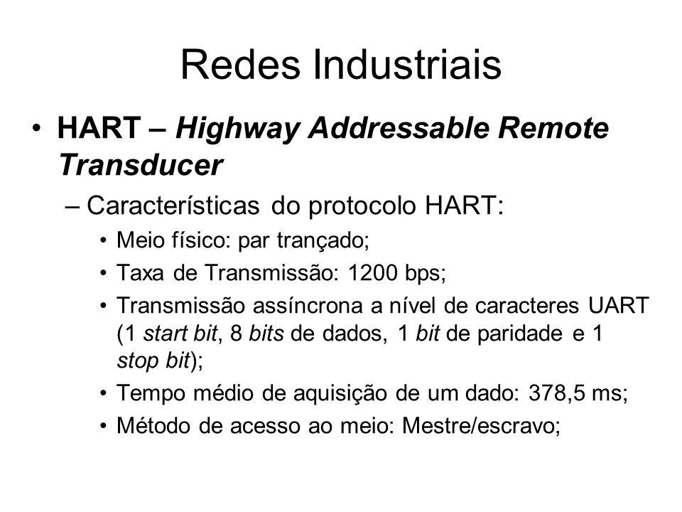 HART – Highway Addressable Remote Transducer –Características do protocolo HART: Meio físico: par trançado; Taxa de Transmissão: 1200 bps; Transmissão