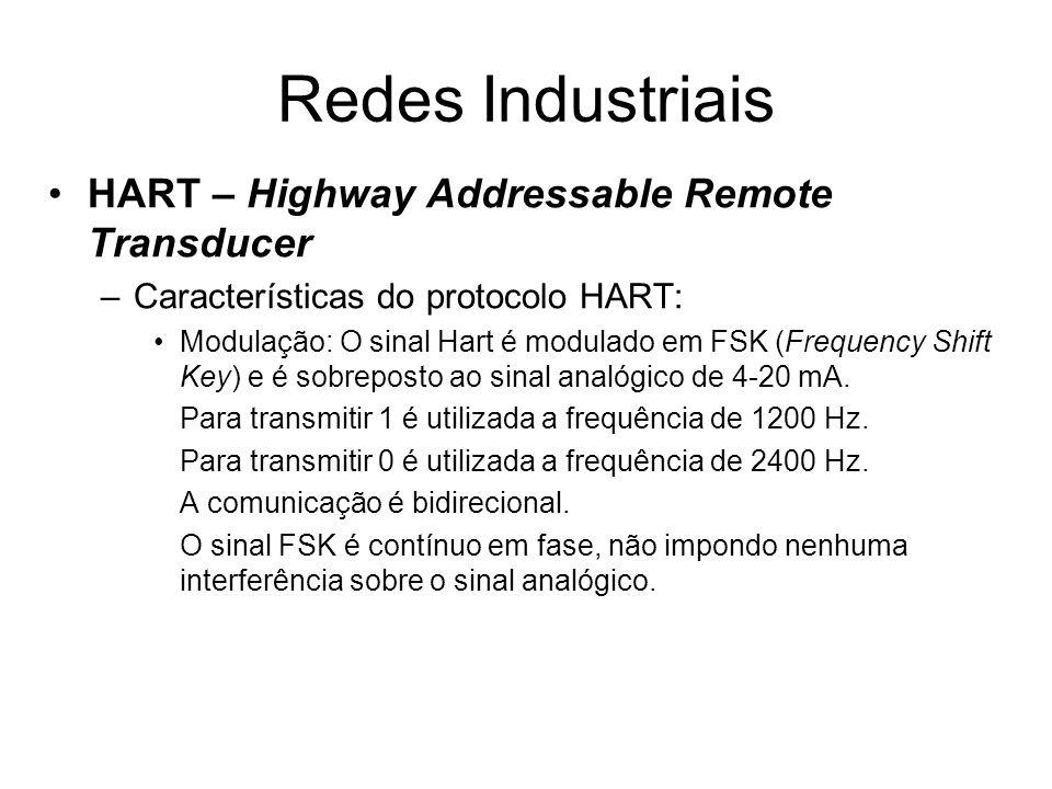 HART – Highway Addressable Remote Transducer –Características do protocolo HART: Modulação: O sinal Hart é modulado em FSK (Frequency Shift Key) e é s