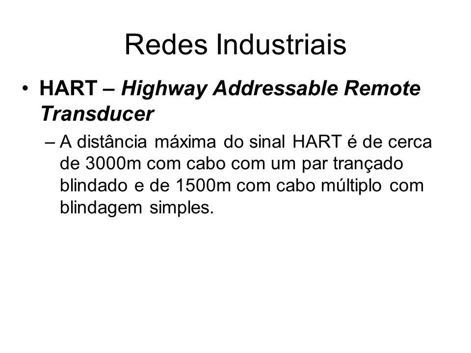 HART – Highway Addressable Remote Transducer –A distância máxima do sinal HART é de cerca de 3000m com cabo com um par trançado blindado e de 1500m co