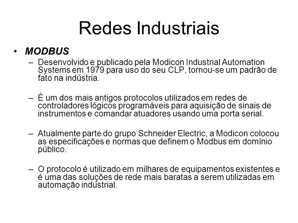MODBUS –Desenvolvido e publicado pela Modicon Industrial Automation Systems em 1979 para uso do seu CLP, tornou-se um padrão de fato na indústria. –É