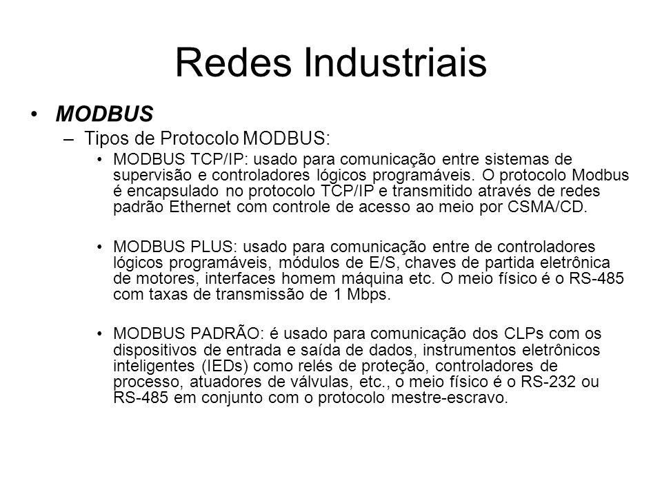 MODBUS –Tipos de Protocolo MODBUS: MODBUS TCP/IP: usado para comunicação entre sistemas de supervisão e controladores lógicos programáveis. O protocol