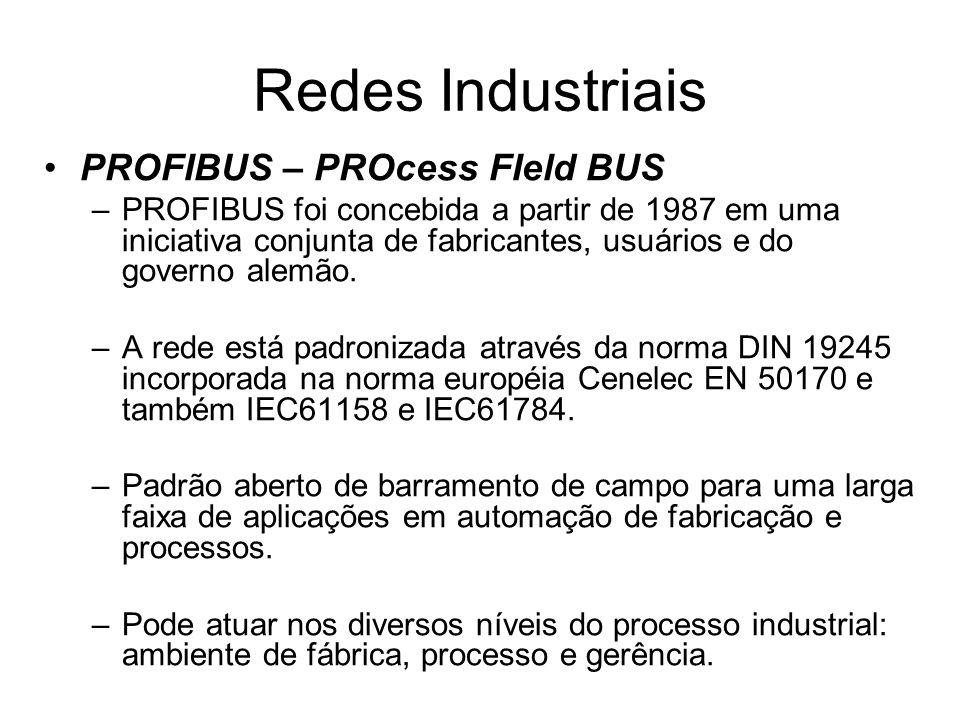 PROFIBUS – PROcess FIeld BUS –PROFIBUS foi concebida a partir de 1987 em uma iniciativa conjunta de fabricantes, usuários e do governo alemão. –A rede