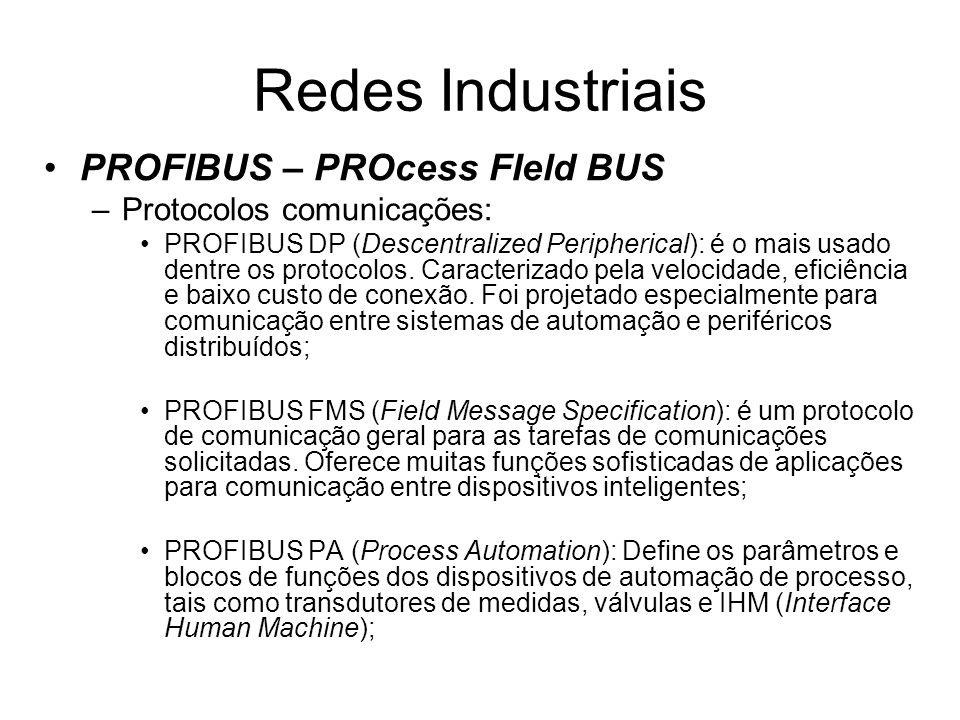 PROFIBUS – PROcess FIeld BUS –Protocolos comunicações: PROFIBUS DP (Descentralized Peripherical): é o mais usado dentre os protocolos. Caracterizado p