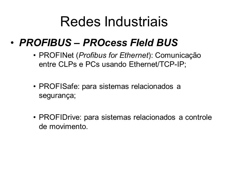 PROFIBUS – PROcess FIeld BUS PROFINet (Profibus for Ethernet): Comunicação entre CLPs e PCs usando Ethernet/TCP-IP; PROFISafe: para sistemas relaciona