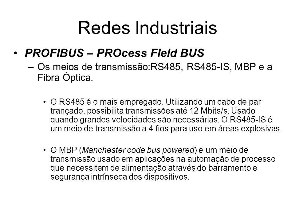 PROFIBUS – PROcess FIeld BUS –Os meios de transmissão:RS485, RS485-IS, MBP e a Fibra Óptica. O RS485 é o mais empregado. Utilizando um cabo de par tra