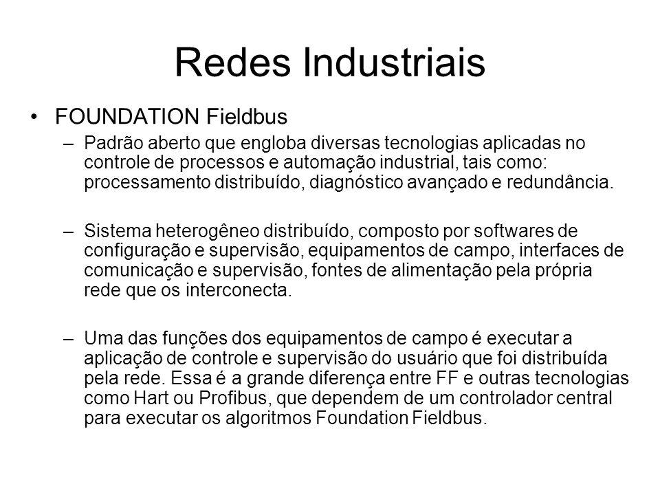 FOUNDATION Fieldbus –Padrão aberto que engloba diversas tecnologias aplicadas no controle de processos e automação industrial, tais como: processament