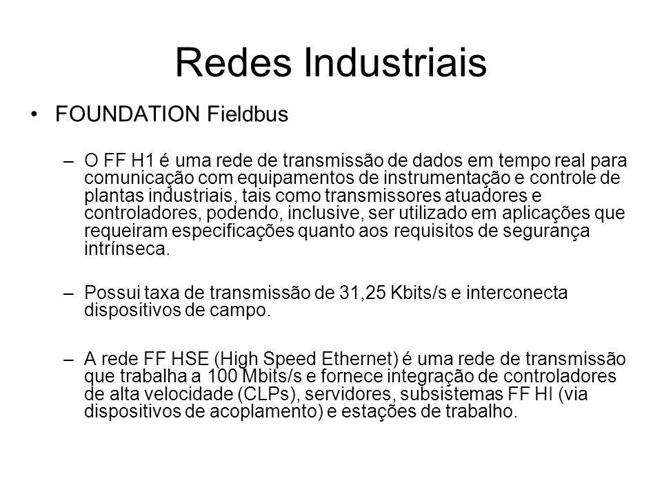 FOUNDATION Fieldbus –O FF H1 é uma rede de transmissão de dados em tempo real para comunicação com equipamentos de instrumentação e controle de planta