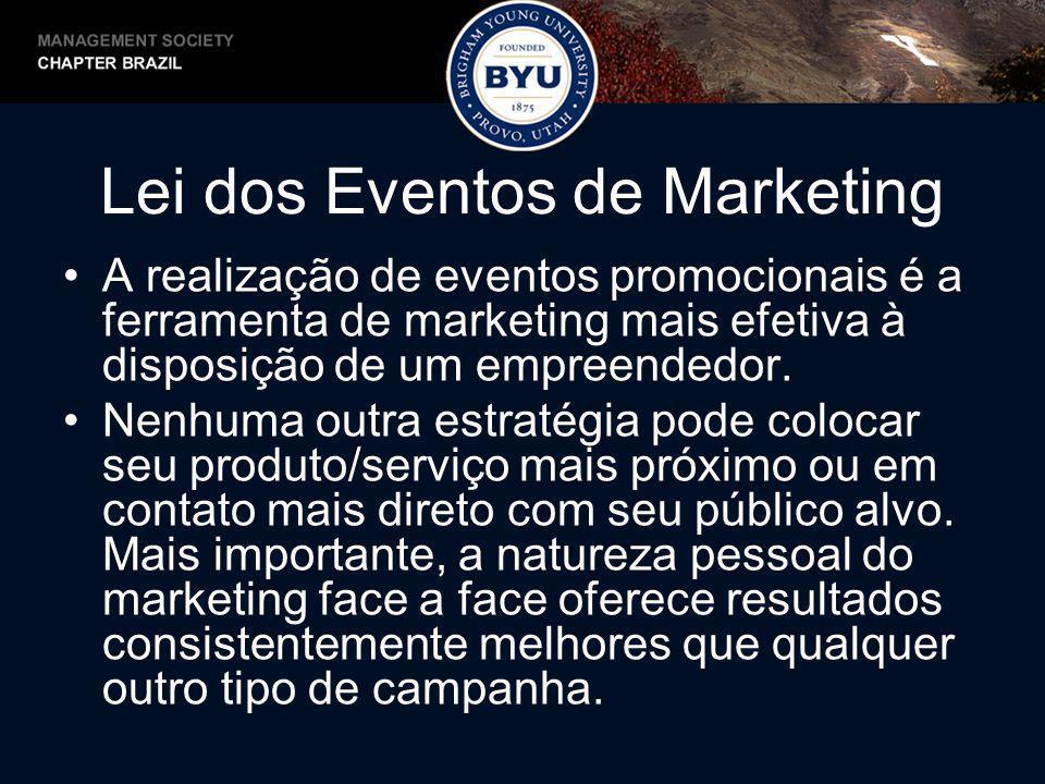 Lei dos Eventos de Marketing A realização de eventos promocionais é a ferramenta de marketing mais efetiva à disposição de um empreendedor. Nenhuma ou