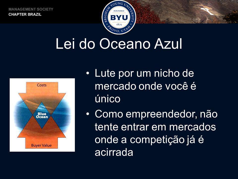Lei do Oceano Azul Lute por um nicho de mercado onde você é único Como empreendedor, não tente entrar em mercados onde a competição já é acirrada