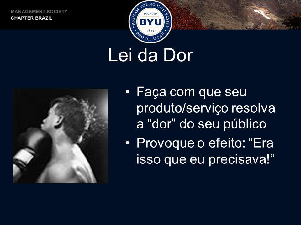 Lei da Dor Faça com que seu produto/serviço resolva a dor do seu público Provoque o efeito: Era isso que eu precisava!