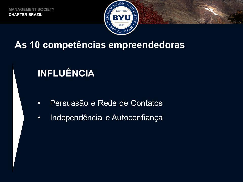 As 10 competências empreendedoras INFLUÊNCIA Persuasão e Rede de Contatos Independência e Autoconfiança