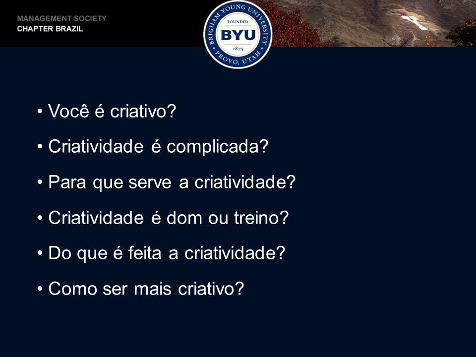 Você é criativo? Criatividade é complicada? Para que serve a criatividade? Criatividade é dom ou treino? Do que é feita a criatividade? Como ser mais