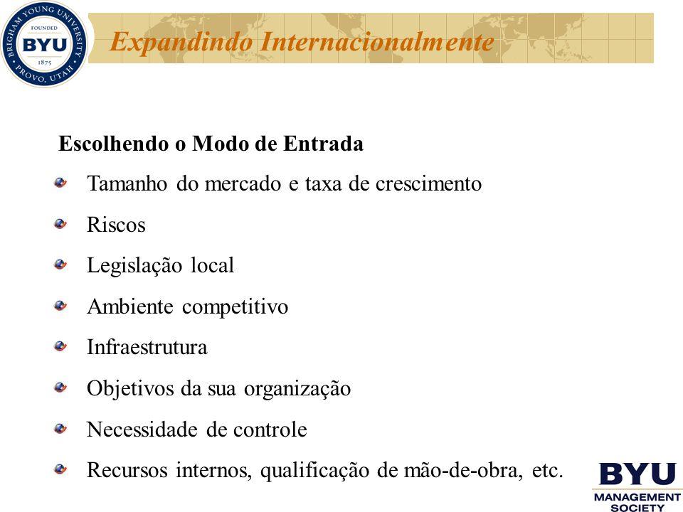 Escolhendo o Modo de Entrada Tamanho do mercado e taxa de crescimento Riscos Legislação local Ambiente competitivo Infraestrutura Objetivos da sua org