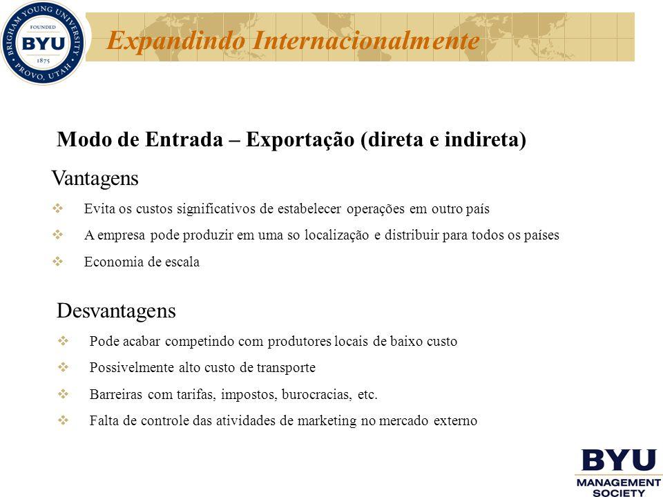 Expandindo Internacionalmente Modo de Entrada – Exportação (direta e indireta) Vantagens Evita os custos significativos de estabelecer operações em ou