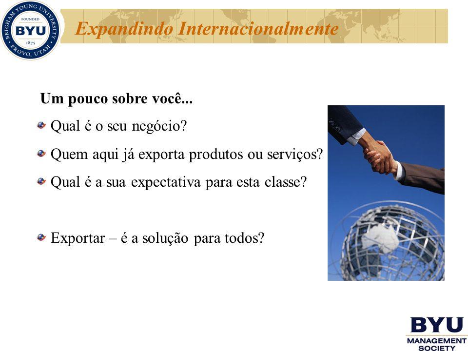 Expandindo Internacionalmente Um pouco sobre você... Qual é o seu negócio? Quem aqui já exporta produtos ou serviços? Qual é a sua expectativa para es