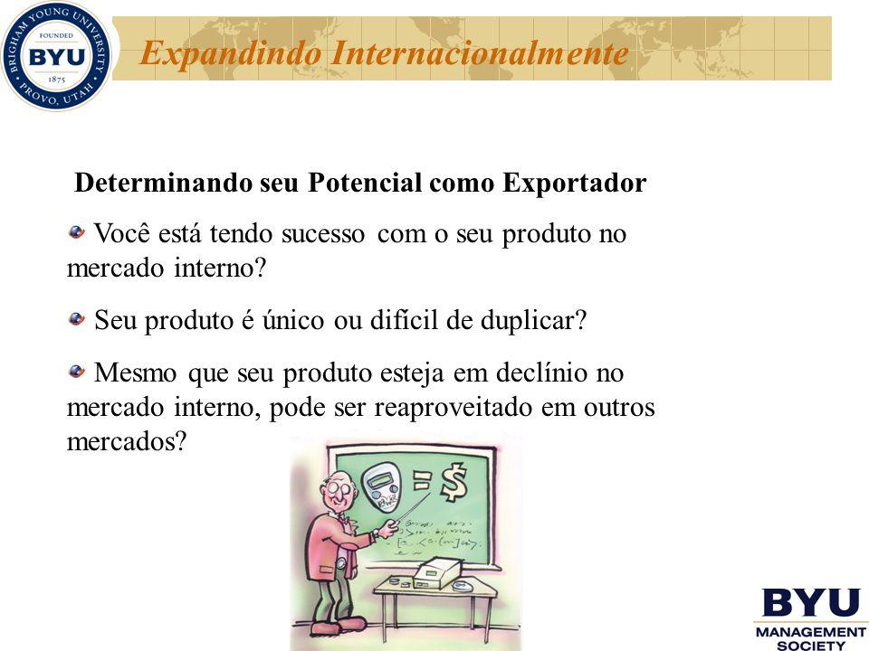 Expandindo Internacionalmente Determinando seu Potencial como Exportador Você está tendo sucesso com o seu produto no mercado interno? Seu produto é ú