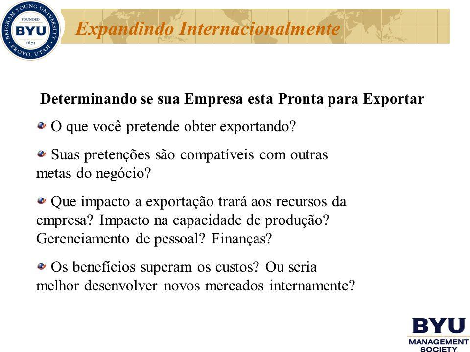 Expandindo Internacionalmente Determinando se sua Empresa esta Pronta para Exportar O que você pretende obter exportando? Suas pretenções são compatív