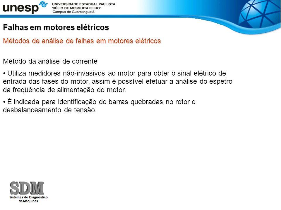 Método da análise de corrente Utiliza medidores não-invasivos ao motor para obter o sinal elétrico de entrada das fases do motor, assim é possível efe