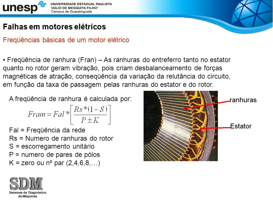 Freqüência de ranhura (Fran) – As ranhuras do entreferro tanto no estator quanto no rotor geram vibração, pois criam desbalanceamento de forças magnét