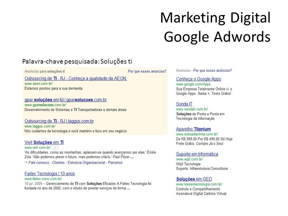Marketing Digital Google Adwords Palavra-chave pesquisada: Soluções ti