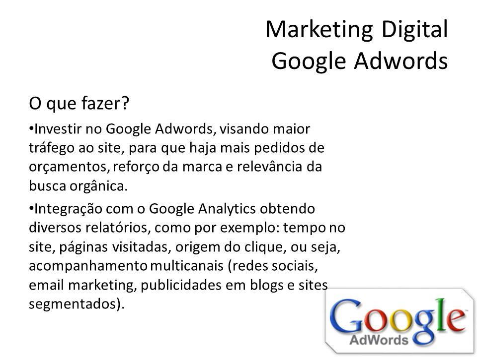 Marketing Digital Google Adwords O que fazer? Investir no Google Adwords, visando maior tráfego ao site, para que haja mais pedidos de orçamentos, ref