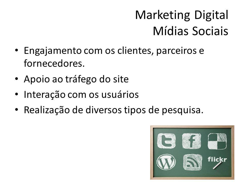 Marketing Digital Mídias Sociais Engajamento com os clientes, parceiros e fornecedores. Apoio ao tráfego do site Interação com os usuários Realização