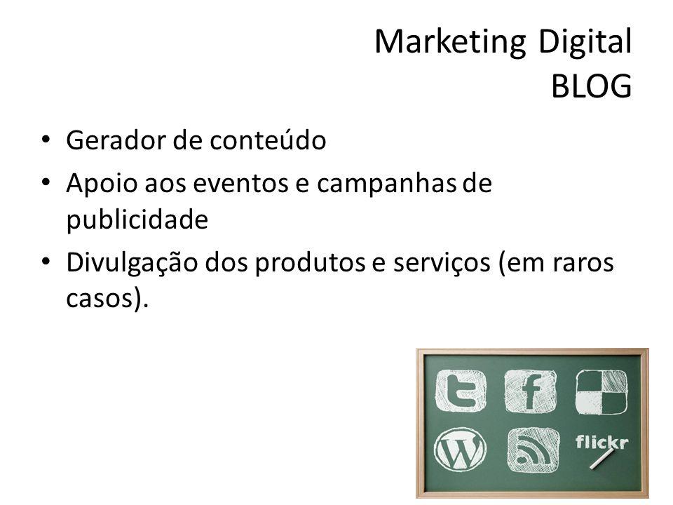 Marketing Digital BLOG Gerador de conteúdo Apoio aos eventos e campanhas de publicidade Divulgação dos produtos e serviços (em raros casos).