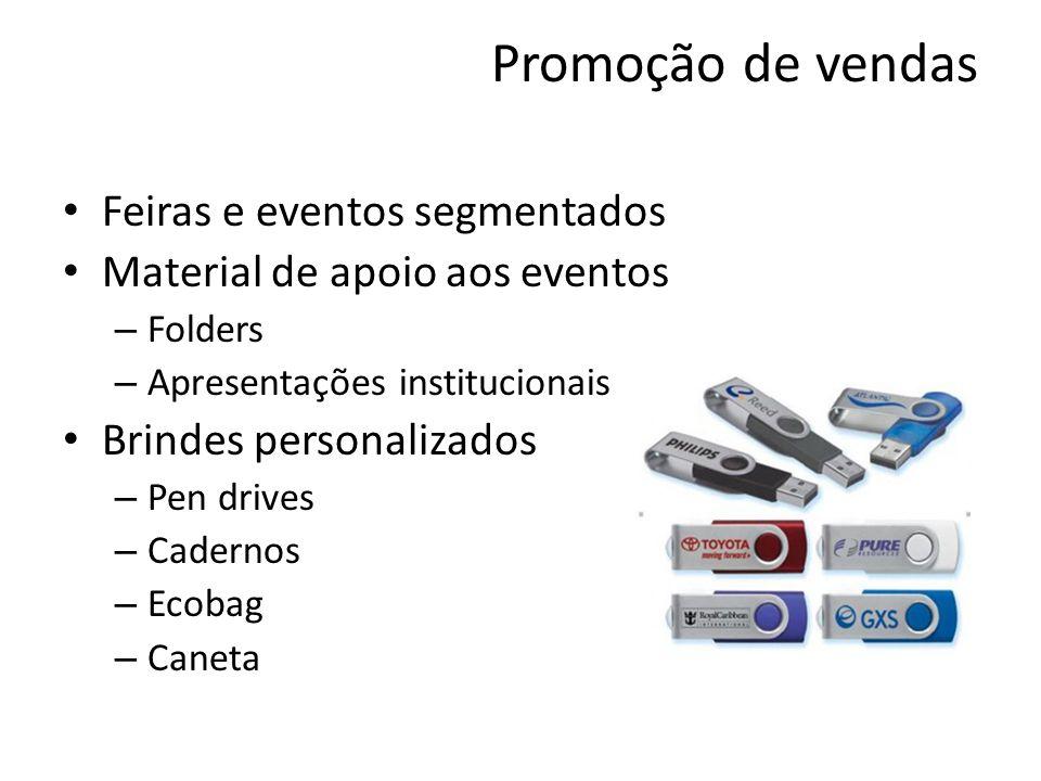 Promoção de vendas Feiras e eventos segmentados Material de apoio aos eventos – Folders – Apresentações institucionais Brindes personalizados – Pen dr