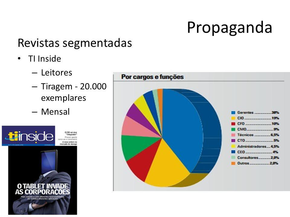 Propaganda Revistas segmentadas TI Inside – Leitores – Tiragem - 20.000 exemplares – Mensal